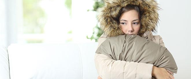 Wearing a coat indoors